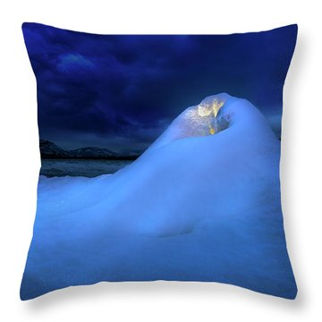 Throw Pillow featuring the photograph Ice Volcano by John Poon