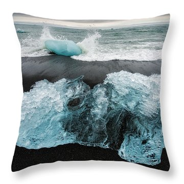 Throw Pillow featuring the photograph Iceberg And Black Beach In Iceland by Matthias Hauser