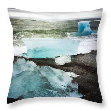 Iceberg Pieces Jokulsarlon Iceland Throw Pillow by Matthias Hauser