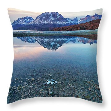 Icebergs And Mountains Of Torres Del Paine National Park Throw Pillow