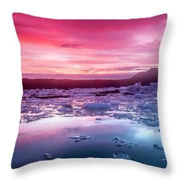 Icebergs In Jokulsarlon Glacial Lagoon Throw Pillow by Joe Belanger