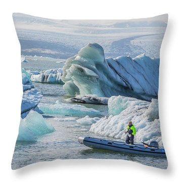 Icebergs On Jokulsarlon Lagoon In Iceland Throw Pillow