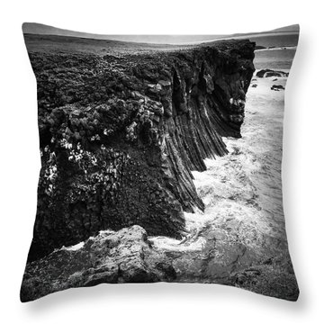 Iceland Coast Black And White Throw Pillow