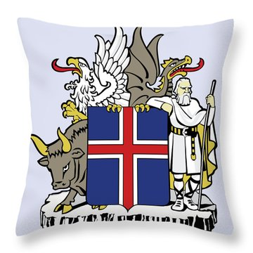 Throw Pillow featuring the drawing Iceland Coat Of Arms by Movie Poster Prints