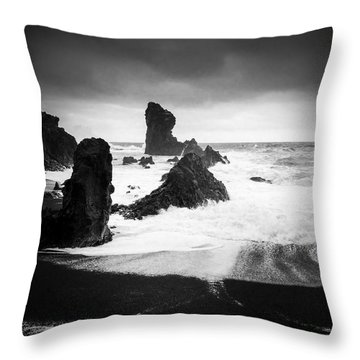 Iceland Dritvik Beach And Cliffs Dramatic Black And White Throw Pillow by Matthias Hauser