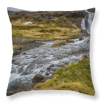 Iceland Fjord Throw Pillow by Kathy Adams Clark