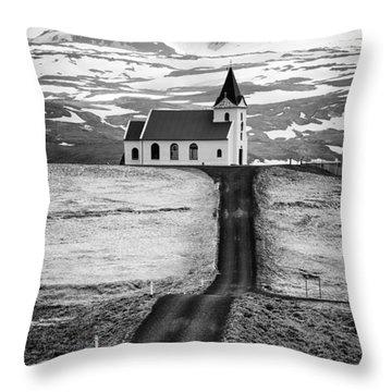 Iceland Ingjaldsholl Church And Mountains Black And White Throw Pillow