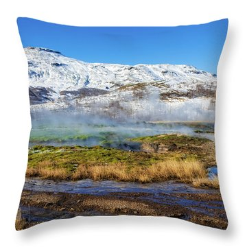 Throw Pillow featuring the photograph Iceland Landscape Geothermal Area Haukadalur by Matthias Hauser