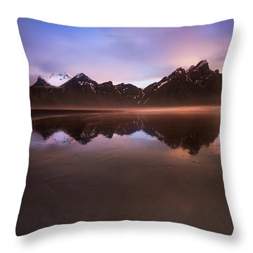 Iceland Sunset Reflections Throw Pillow