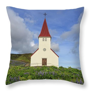 Throw Pillow featuring the photograph Icelandic Church Among The Fields Of Lupine by Edward Fielding