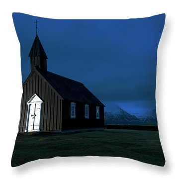 Throw Pillow featuring the photograph Icelandic Church At Night by Dubi Roman