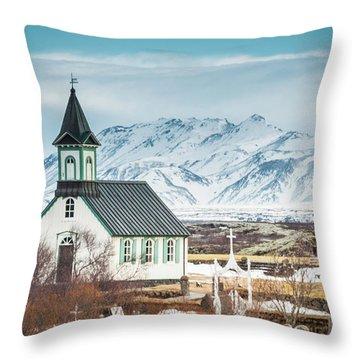 Icelandic Church, Thingvellir Throw Pillow