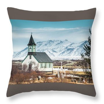 Icelandic Church, Thingvellir Throw Pillow