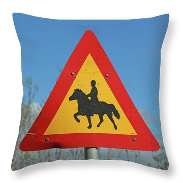 Icelandic Horse Crossing Sign Throw Pillow