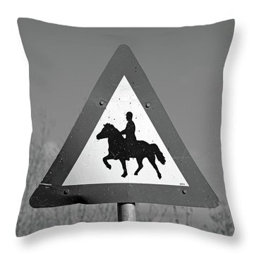 Icelandic Horse Crossing Sign Bw Throw Pillow