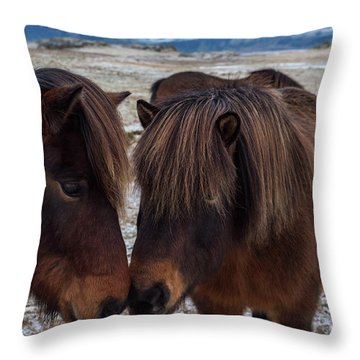 Icelandic Horses Couple Throw Pillow by Scott Cunningham