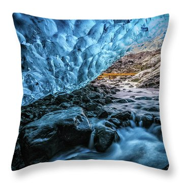 Icelandic Ice Cave Throw Pillow