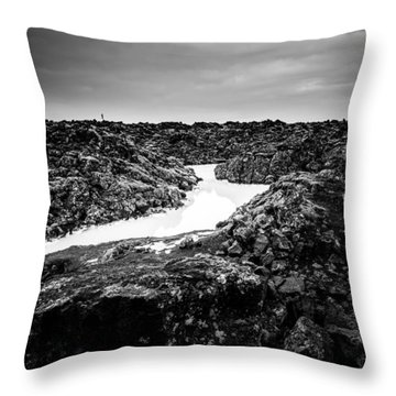 Icelandic Silica Stream In Black And White Throw Pillow