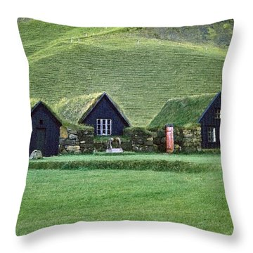 Icelandic Turf Homes Throw Pillow by Mario Carini