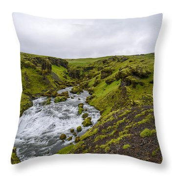 Icelandic Waterfall Throw Pillow