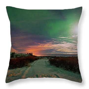 Throw Pillow featuring the photograph Iceland's Landscape At Night by Dubi Roman