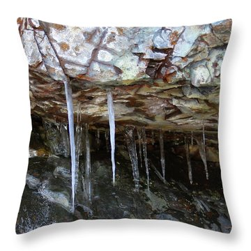 Throw Pillow featuring the photograph Icicle Art by Doris Potter