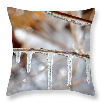 Icicles And Bokeh Throw Pillow by Deb Badt-Covell