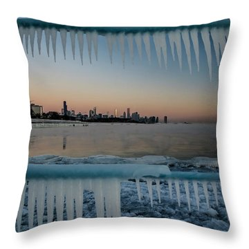 Icicles And Chicago Skyline Throw Pillow