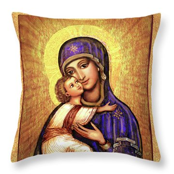 Icon Madonna And Infant Jesus Throw Pillow by Ananda Vdovic