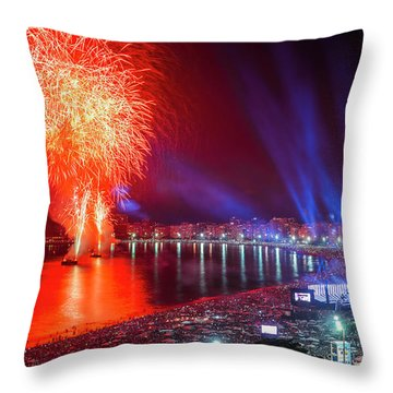 Iconic And Breath-taking Fireworks Display On Copacabana Beach,  Throw Pillow