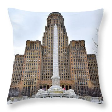 Iconic Buffalo City Hall In Winter Throw Pillow