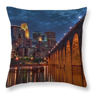 Iconic Minneapolis Stone Arch Bridge Throw Pillow