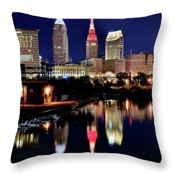 Iconic Night View Of Cleveland Throw Pillow