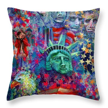 Icons Of Freedom Throw Pillow by Peter Bonk