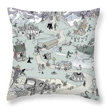Icons Of Horror Throw Pillow by Barry Munden