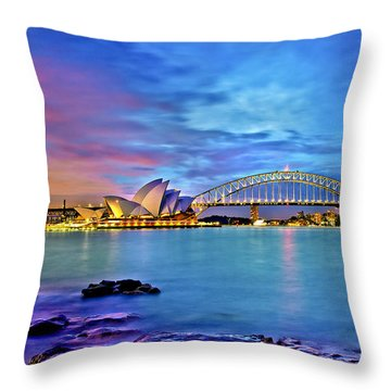 Icons Of Sydney Harbour Throw Pillow by Az Jackson
