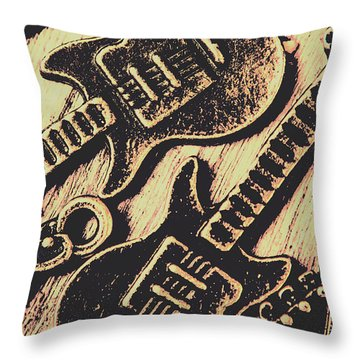 Icons Of Vintage Music Throw Pillow