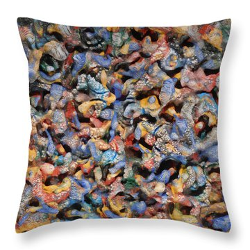 Throw Pillow featuring the mixed media Icy Abstract 1 by Sami Tiainen