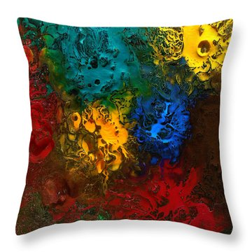 Throw Pillow featuring the mixed media Icy Abstract 10 by Sami Tiainen