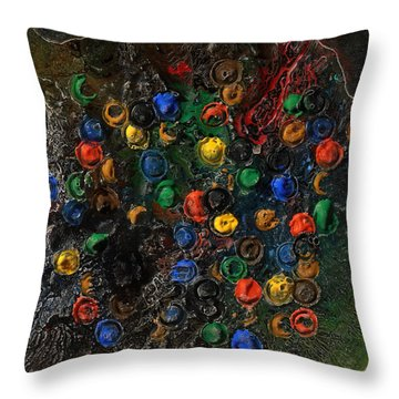 Throw Pillow featuring the mixed media Icy Abstract 7 by Sami Tiainen