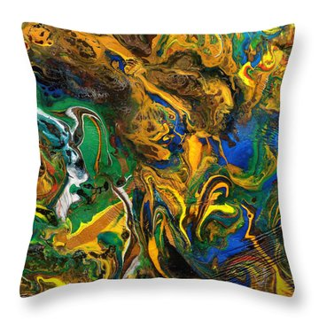 Throw Pillow featuring the mixed media Icy Abstract 9 by Sami Tiainen