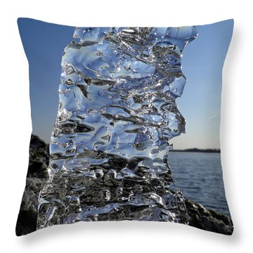 Throw Pillow featuring the photograph Icy Beach View 3 by Sami Tiainen