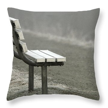 Icy Bench In The Fog Throw Pillow