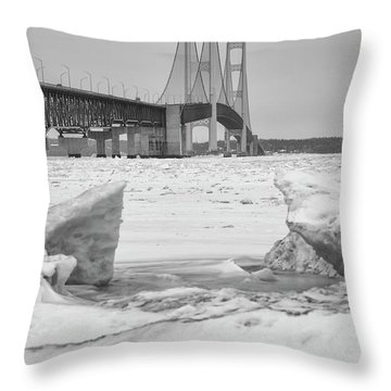 Throw Pillow featuring the photograph Icy Black And White Mackinac Bridge  by John McGraw