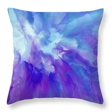 Icy Bloom Throw Pillow