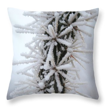 Icy Cactus Throw Pillow