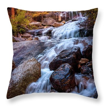 Icy Cascade Waterfalls Throw Pillow