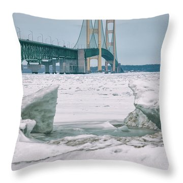 Throw Pillow featuring the photograph Icy Day Mackinac Bridge  by John McGraw