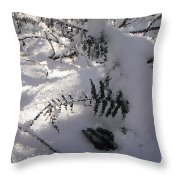 Icy Fern Throw Pillow