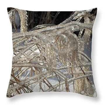 Icy Grass Throw Pillow